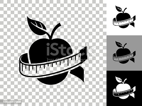 Apple Icon on Checkerboard Transparent Background. This 100% royalty free vector illustration is featuring the icon on a checkerboard pattern transparent background. There are 3 additional color variations on the right..
