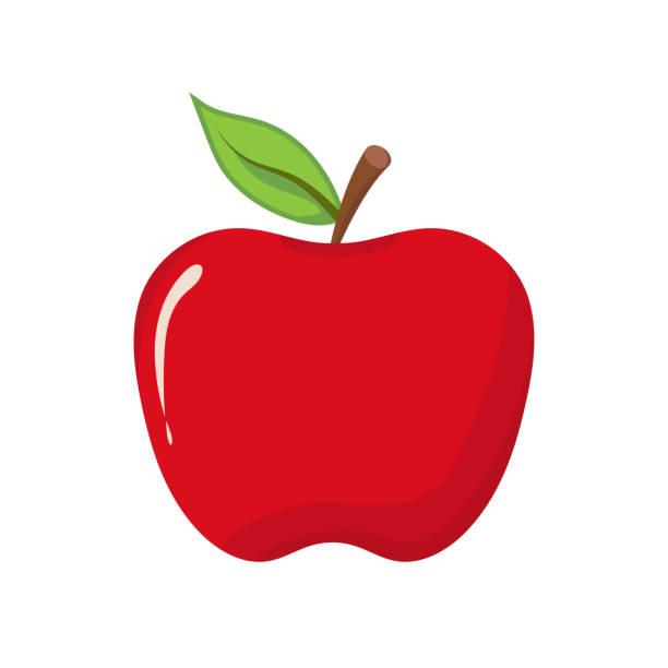 illustrazioni stock, clip art, cartoni animati e icone di tendenza di apple icon on white background. vector illustration - mela