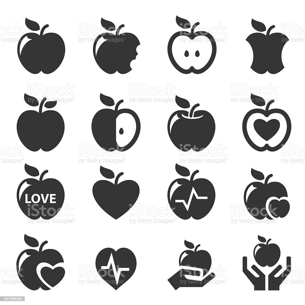 Apple icon set vector art illustration