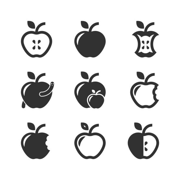 apple-symbol set - apple stock-grafiken, -clipart, -cartoons und -symbole
