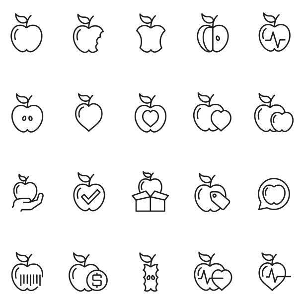 illustrazioni stock, clip art, cartoni animati e icone di tendenza di apple icon set - mela