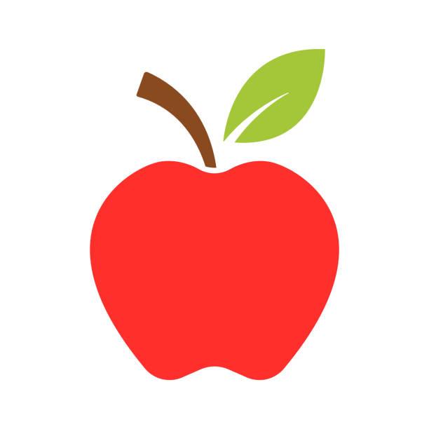 illustrazioni stock, clip art, cartoni animati e icone di tendenza di apple icon vector - mela