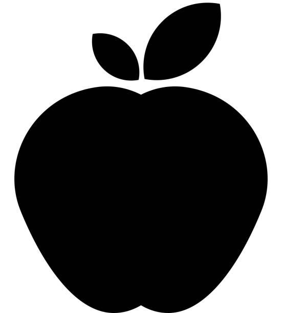 illustrazioni stock, clip art, cartoni animati e icone di tendenza di icona di apple con ombra lunga - mela