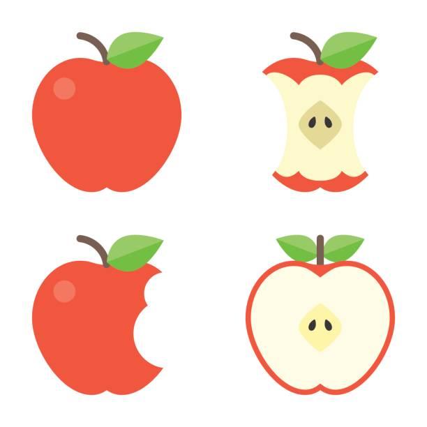 illustrazioni stock, clip art, cartoni animati e icone di tendenza di apple icons set - mela