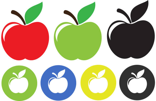 ilustrações de stock, clip art, desenhos animados e ícones de apple illustration isolated on white background - maçã