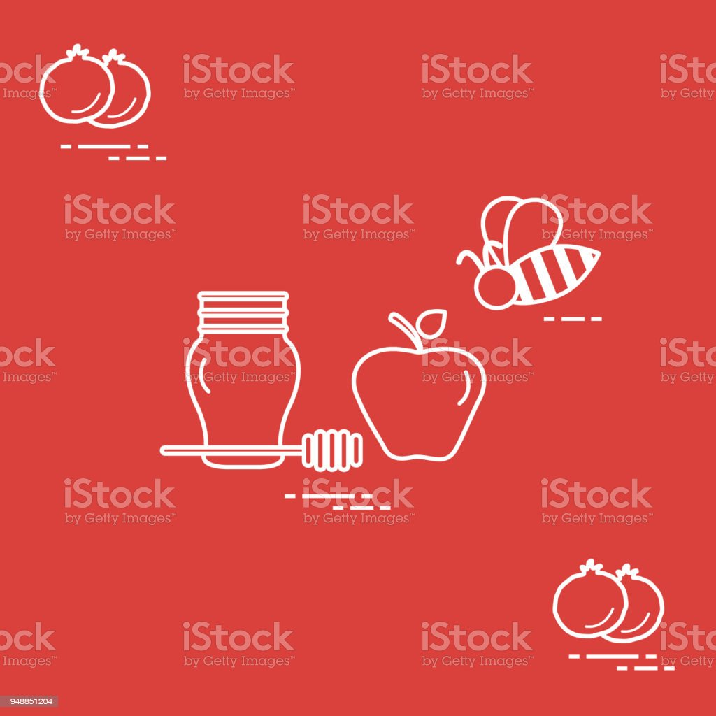 Apple In Honey In Rosh Hashanah Pomegranate Bee Traditional Jewish