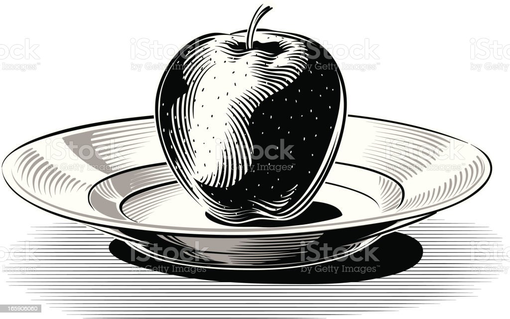 Apple in the dish royalty-free stock vector art