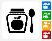 Apple Jam Icon. This 100% royalty free vector illustration features the main icon pictured in black inside a white square. The alternative color options in blue, green, yellow and red are on the right of the icon and are arranged in a vertical column.