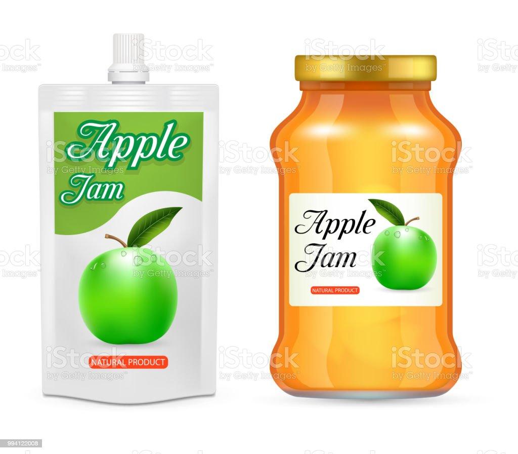 Compota de maçã vector maquete realista conjunto de empacotamento - ilustração de arte em vetor
