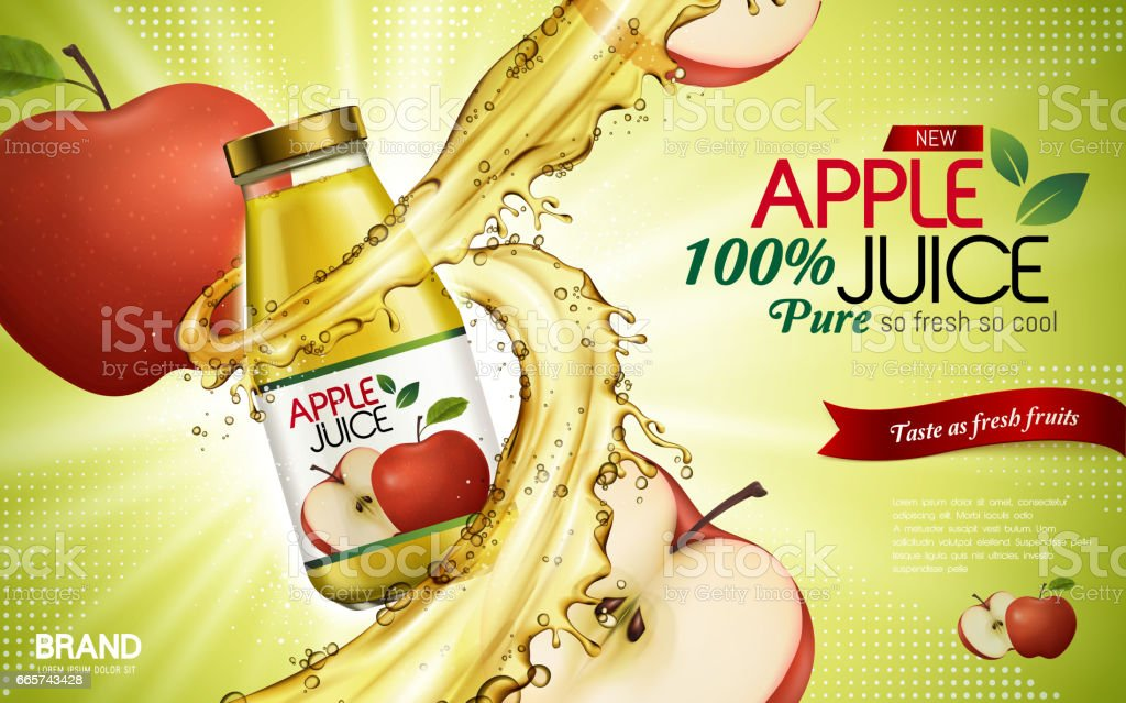 apple juice ad vector art illustration