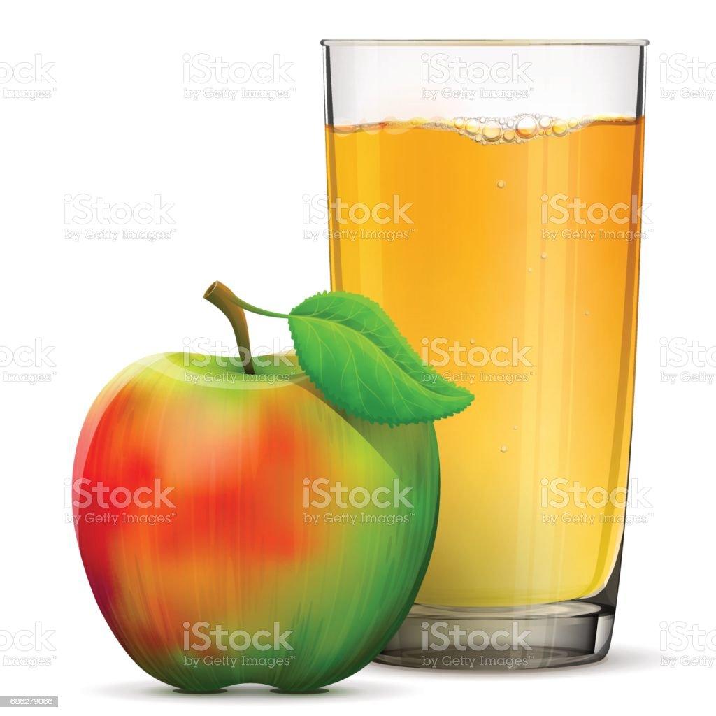 Apple juice in glass isolated on white background – Vektorgrafik