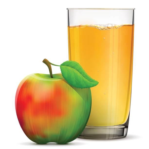 Apfelsaft in Glas, isoliert auf weißem Hintergrund – Vektorgrafik