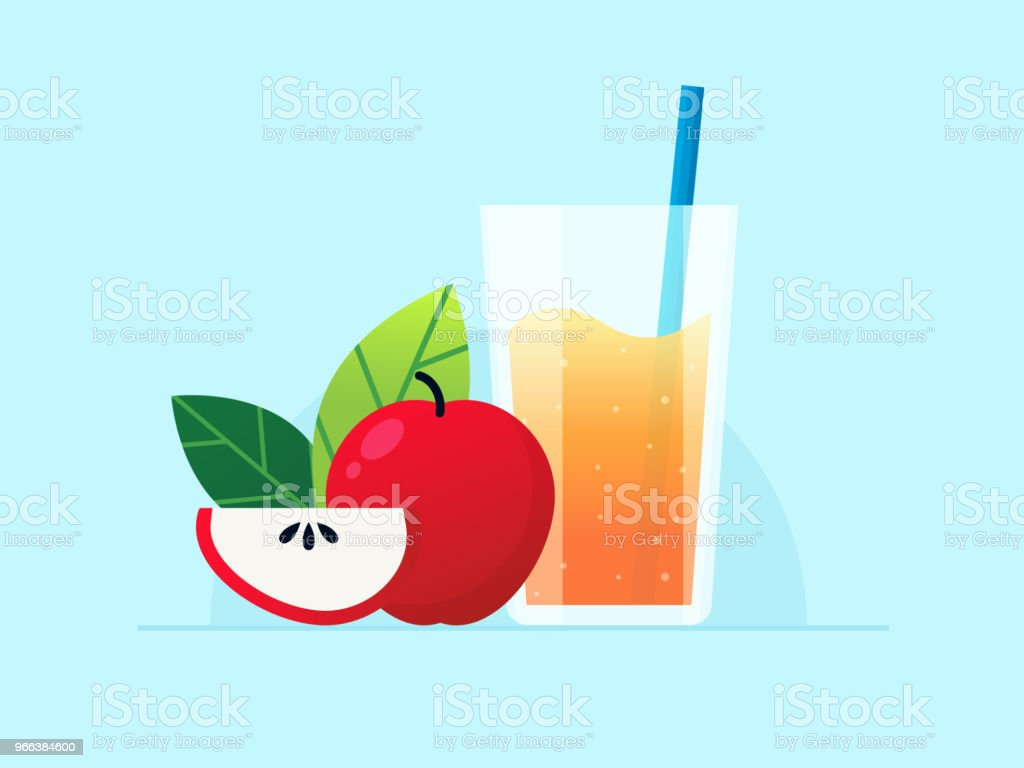 Apfelsaft aus Glas mit roter Apfel – Vektorgrafik