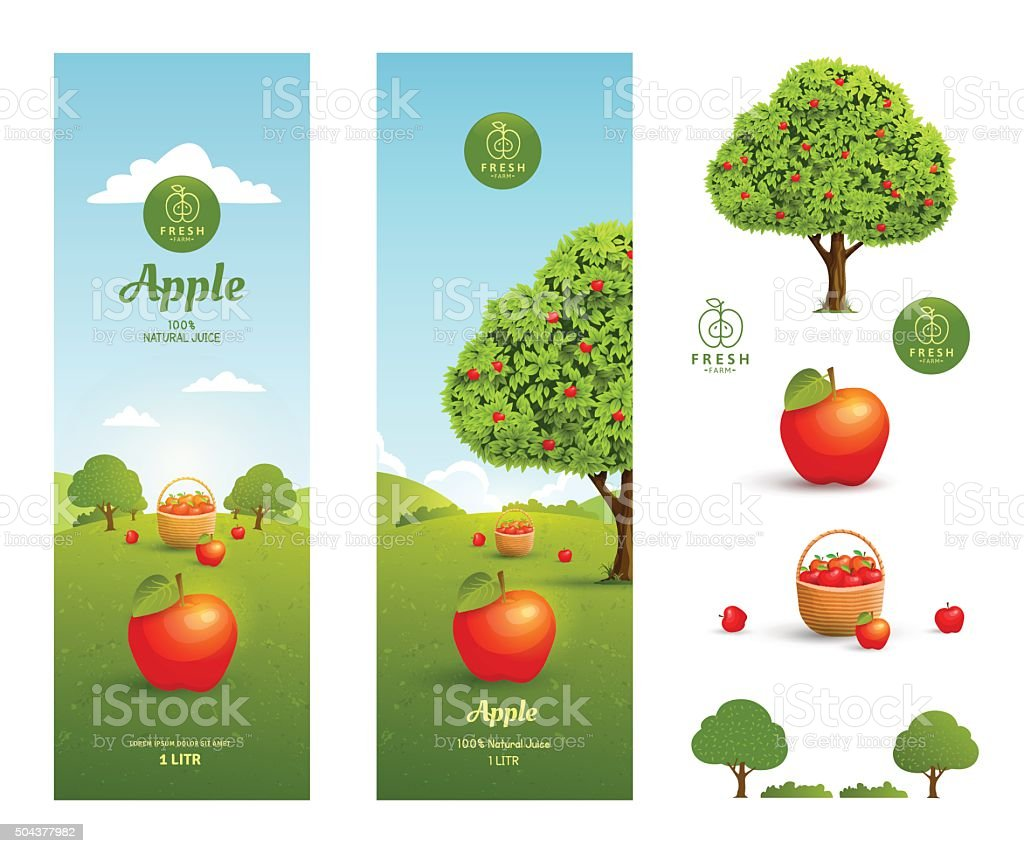 Apple juice packaging vector art illustration