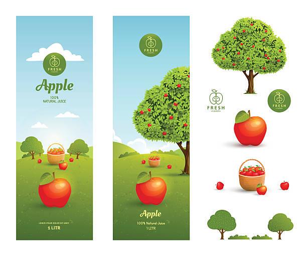 Apfelsaft Verpackung – Vektorgrafik