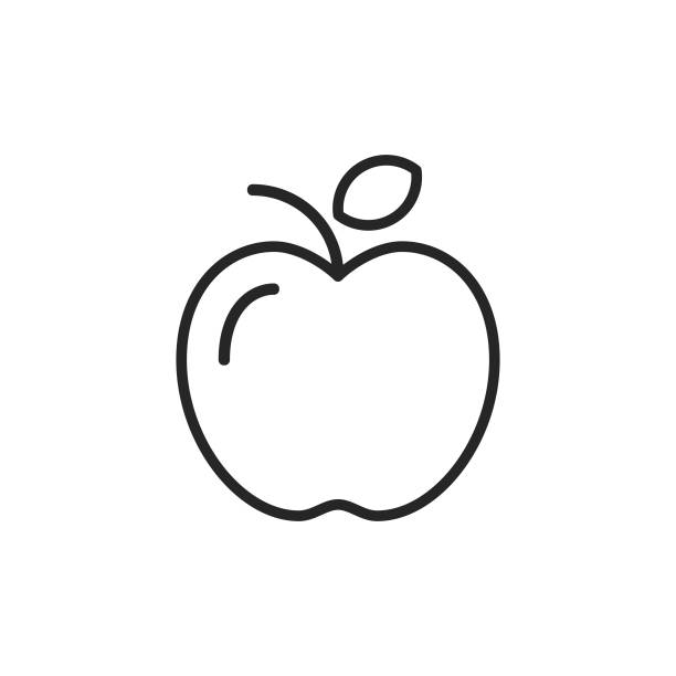 ilustrações de stock, clip art, desenhos animados e ícones de apple line icon. editable stroke. pixel perfect. for mobile and web. - maçã