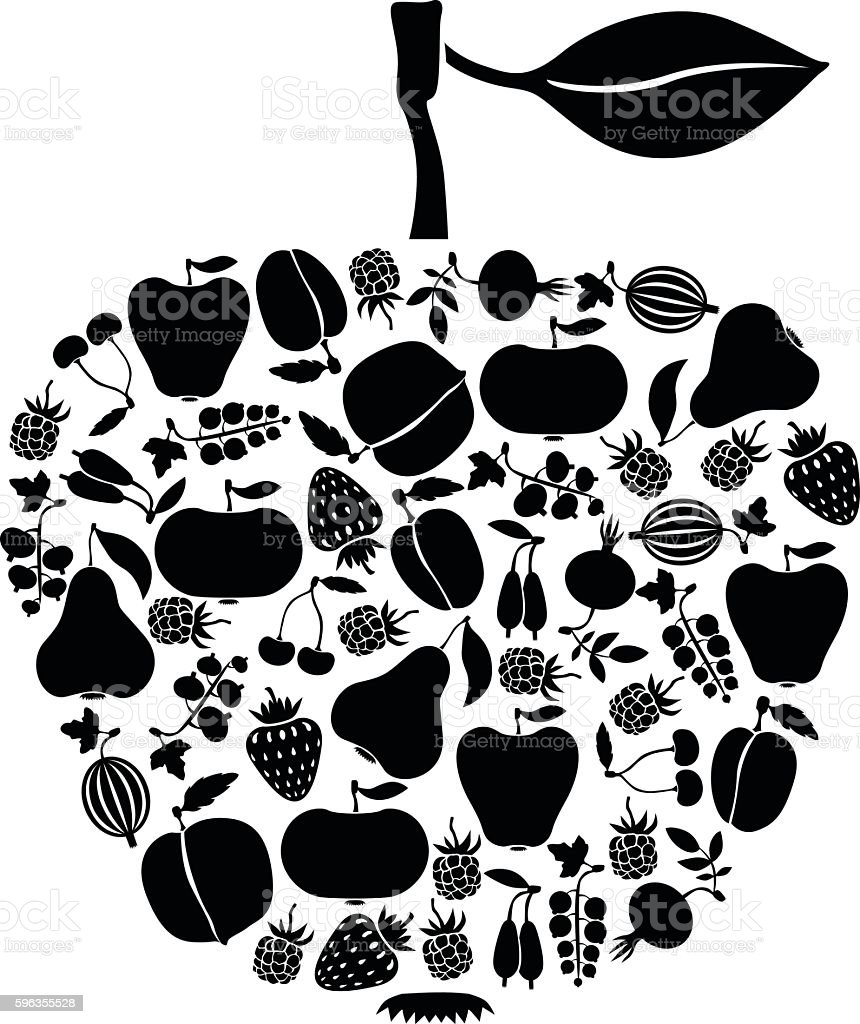 Apple of fruits and berries icon royalty-free apple of fruits and berries icon stock vector art & more images of apple - fruit