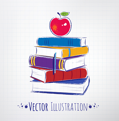 Apple on a pile of books. Vector illustration.