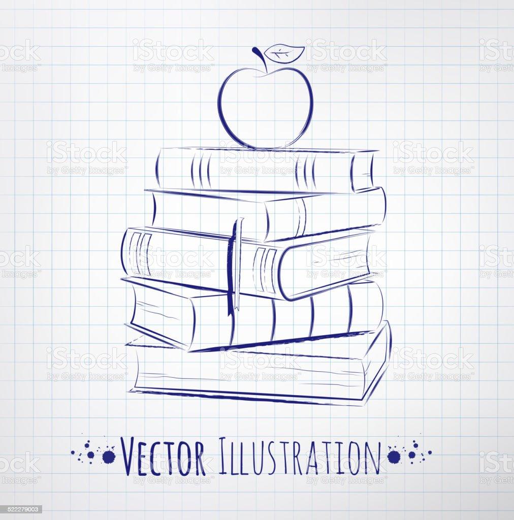 Apple on a pile of books. vector art illustration