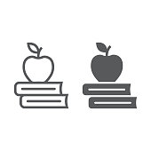 Apple on the books line and glyph icon, school and education, library sign vector graphics, a linear pattern on a white background, eps 10.