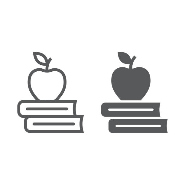 ilustrações de stock, clip art, desenhos animados e ícones de apple on the books line and glyph icon, school and education, library sign vector graphics, a linear pattern on a white background, eps 10. - maçã