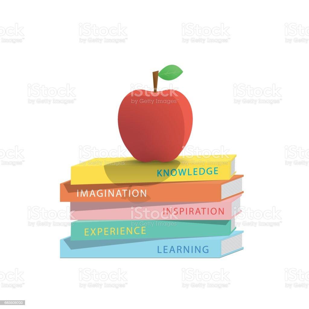 Apple on top stack books white background illustration vector. Education concept. vector art illustration