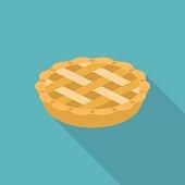 Apple or pumpkin pie in flat design