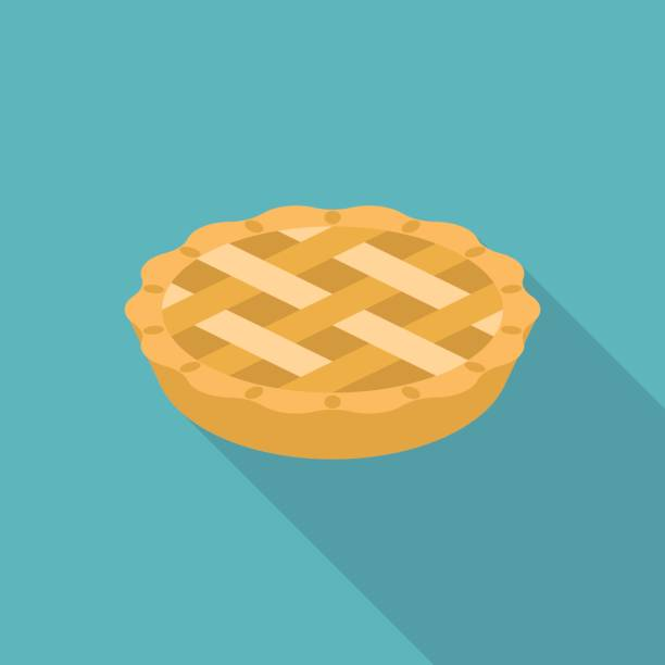 apple or pumpkin pie in flat design - pie stock illustrations, clip art, cartoons, & icons