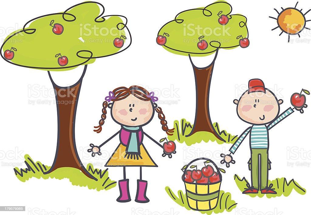 royalty free apple orchard clip art vector images illustrations rh istockphoto com apple picking clipart apple picking basket clipart