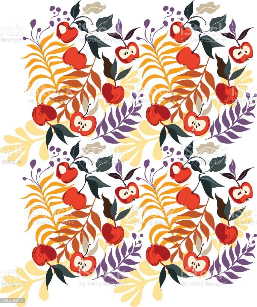 apple pattern apple pattern – cliparts vectoriels et plus d'images de automne libre de droits