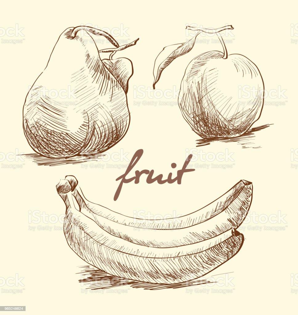 Apple, pear and banana on a white background. Sketch. Vector apple pear and banana on a white background sketch vector - stockowe grafiki wektorowe i więcej obrazów atrament royalty-free
