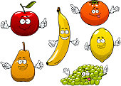 Funny ripe cartoon red apple, pear, banana, orange, green grape and lemon fruits characters for dessert food or agriculture design
