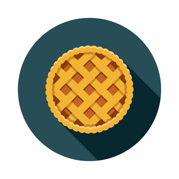 apple pie flat design usa icon with side shadow - pie stock illustrations, clip art, cartoons, & icons