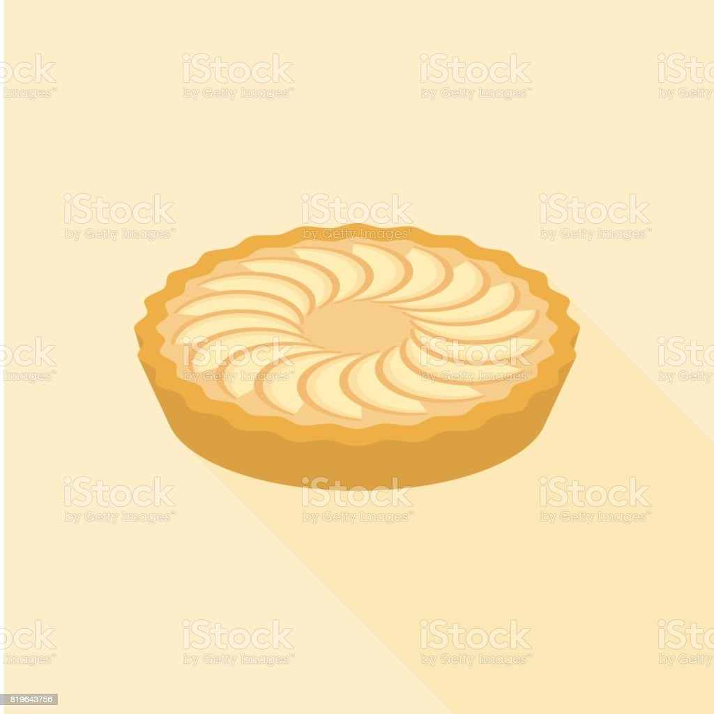 Apple pie in flat design with long shadow vector art illustration