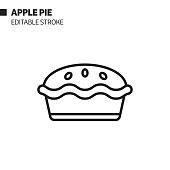 istock Apple Pie Line Icon, Outline Vector Symbol Illustration. Pixel Perfect, Editable Stroke. 1200974528