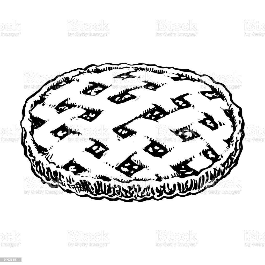 Apfelkuchenskizzesymbol Hausgemachte Kuchen Wie Von Hand Gezeichnet