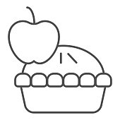 istock Apple pie thin line icon. Fruit dessert tart, sweet baked cake symbol, outline style pictogram on white background. Bakery shop sign for mobile concept and web design. Vector graphics. 1211790001
