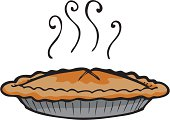 Clip art style illustration of hot pie with a well-formed pie crust, sitting in a pie tin, isolated on a white background. part of a series on food.