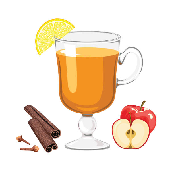 ilustrações de stock, clip art, desenhos animados e ícones de apple punch isolated on white background. hot traditional alcoholic drink in glass cup with apple, lemon, cinnamon sticks and cloves. vector illustration of winter drink in cartoon flat style. - chá bebida quente