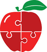 Vector illustration of an apple made of puzzle pieces.