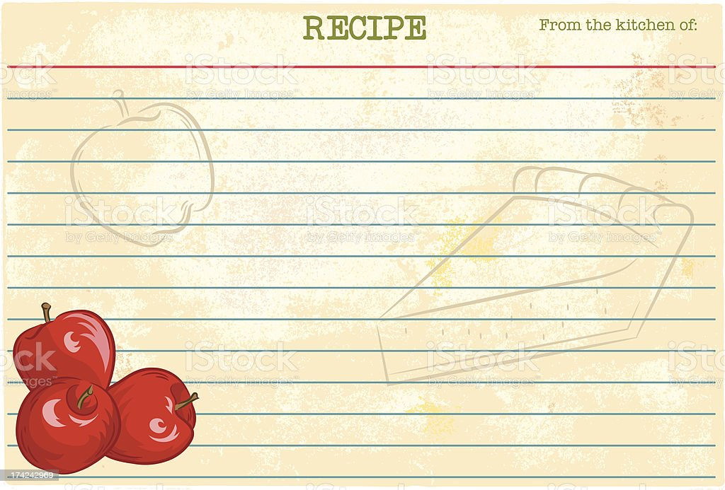 Apple Recipe Card royalty-free stock vector art