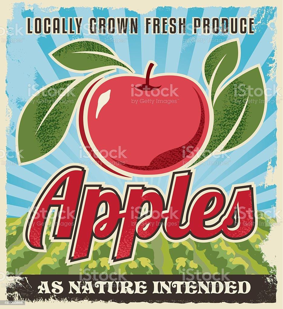 Apple retro vintage crate label design vector art illustration