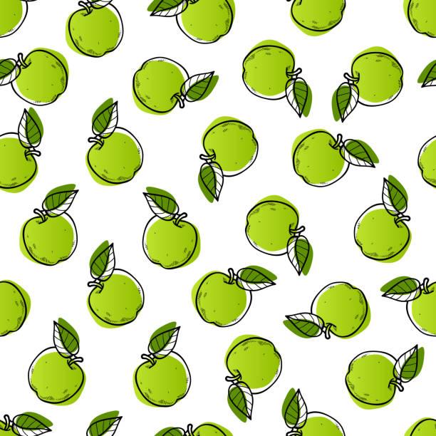 illustrazioni stock, clip art, cartoni animati e icone di tendenza di apple seamless pattern design - mela