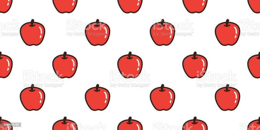 Vetores De Apple Sem Costura Padrao Fruta Isolado Vetor Papel De