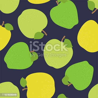 Apple seamless pattern. Vector sketch fresh fruit. Fashion design. Food print for clothes, kitchen tablecloth, curtain or dishcloth