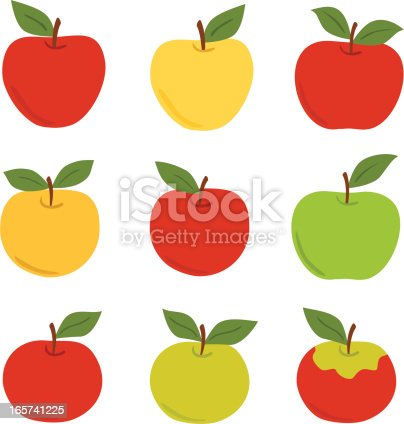 A retro-styled set of multiple varieties of apples. Macintosh, Red and Golden Delicious, Rome, Gala, Honeycrisp, and Granny Smith shapes are shown. Created in a classic moderism style. Simple shapes for easy color changes. Red apples, green apples, yellow apples, and multi-colored apples.
