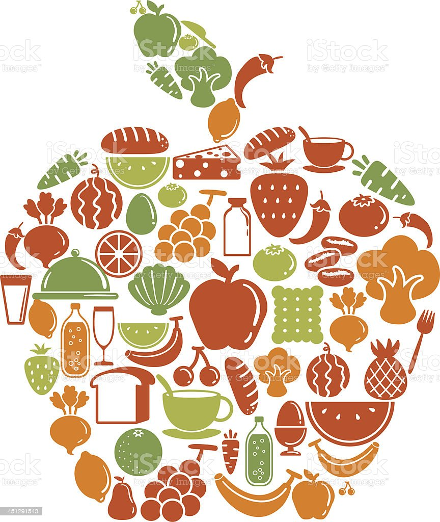 Apple shape pattern with food icon royalty-free stock vector art