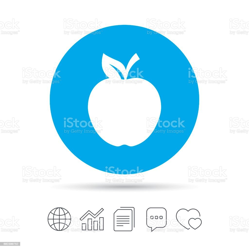 Apple sign icon. Fruit with leaf symbol. royalty-free apple sign icon fruit with leaf symbol stock vector art & more images of apple - fruit
