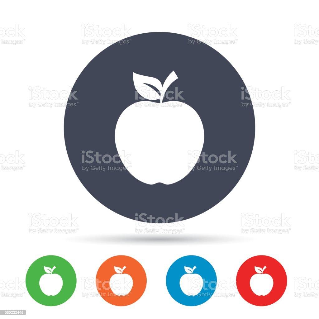 Apple sign icon. Fruit with leaf symbol. apple sign icon fruit with leaf symbol - arte vetorial de stock e mais imagens de aplicação móvel royalty-free