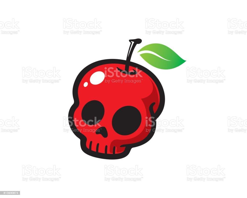 Apple Skull Symbol Template Design Vector Emblem Design Concept